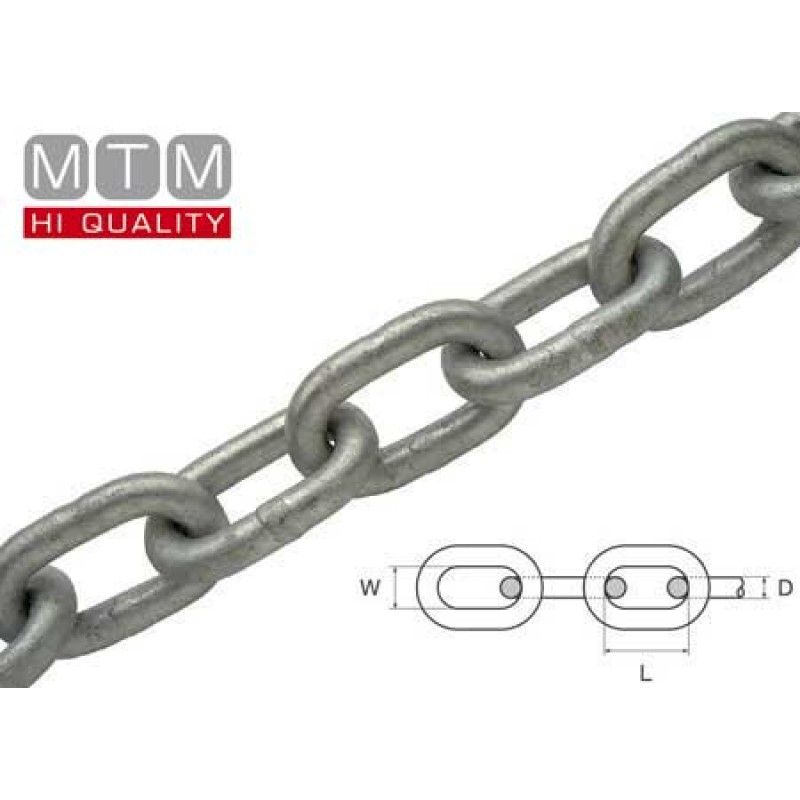 Long link hot-dip Galvanized Steel chain 12 x 49mm -50mt