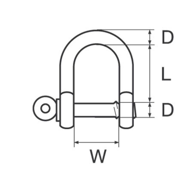 Grillete Recto Galvanizado D20