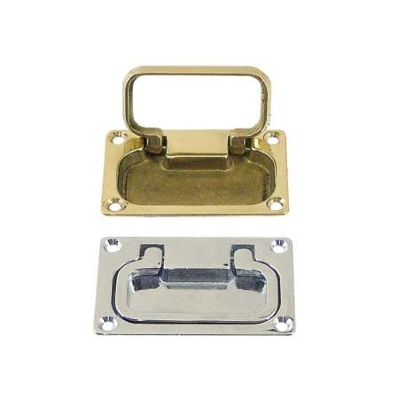 brass flush mount square lifting handle. square grip 74 x 50 x 8mm