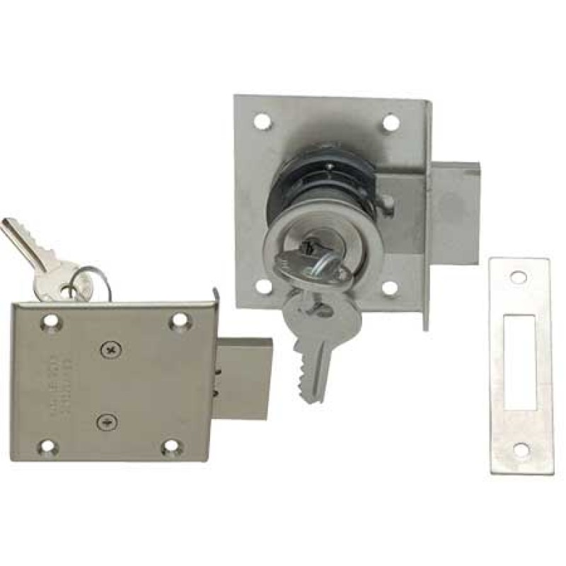 Chromed Flush mount compact rim lock with keys
