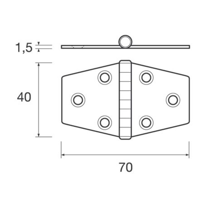 Bisquit hinge stainless steel Mm: H40 X L70