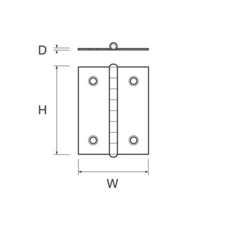 Stainless Flat Hinge H50mm