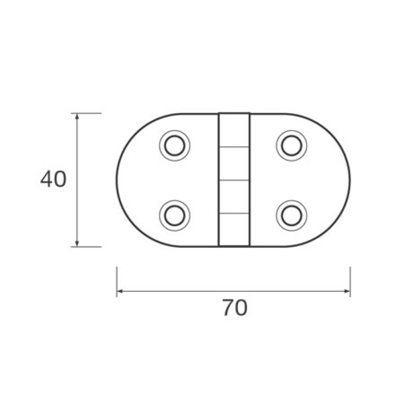 Black Plastic oval hinge 40 x 70mm