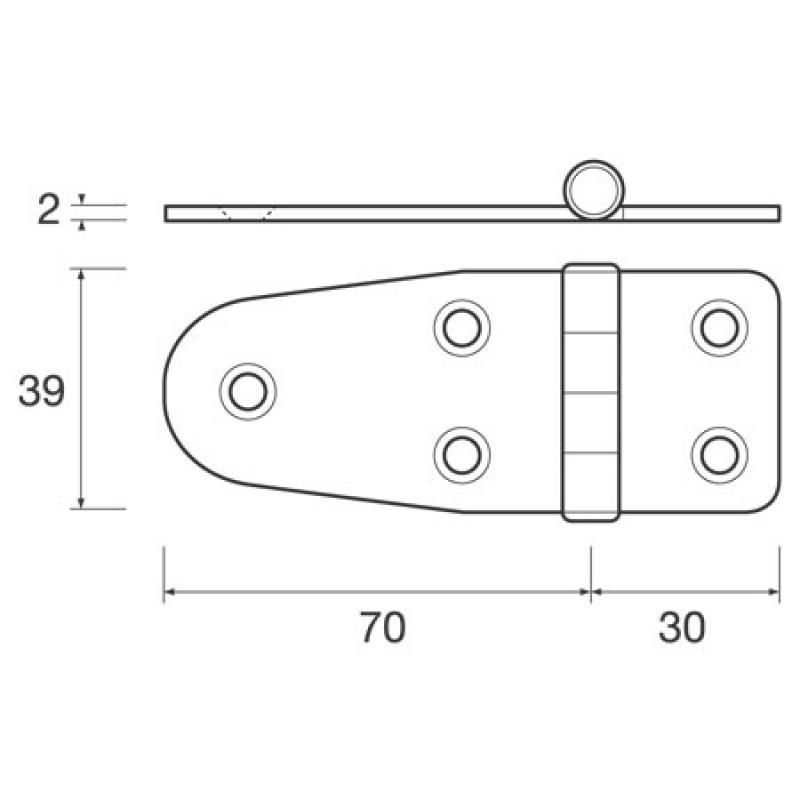 Flat hinge Med stainless steel Mm: H39 X L70 / 30