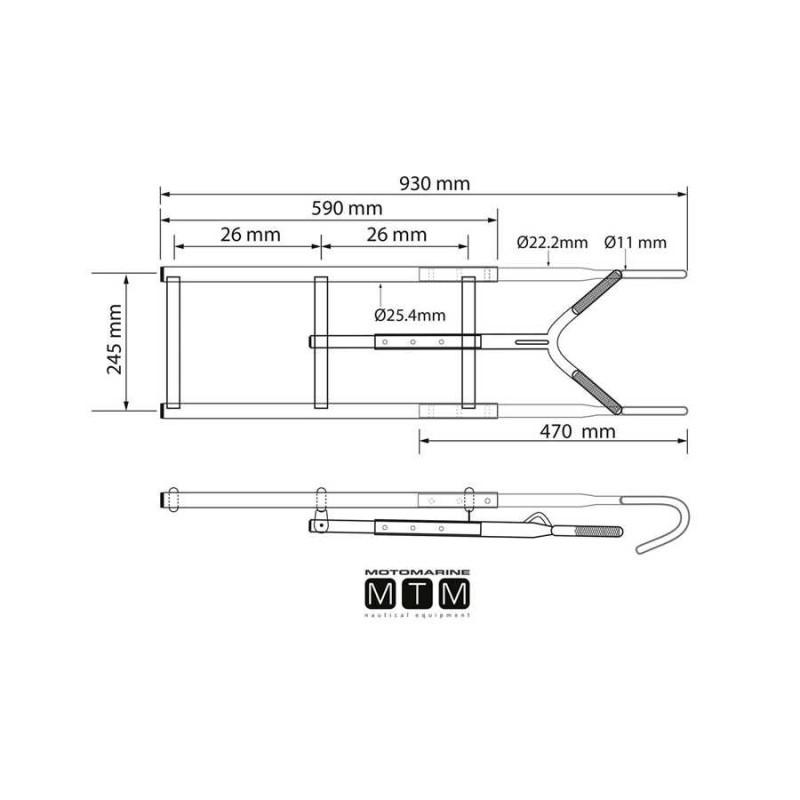 Escalera Proa Inox 3 Peldaños H80cm