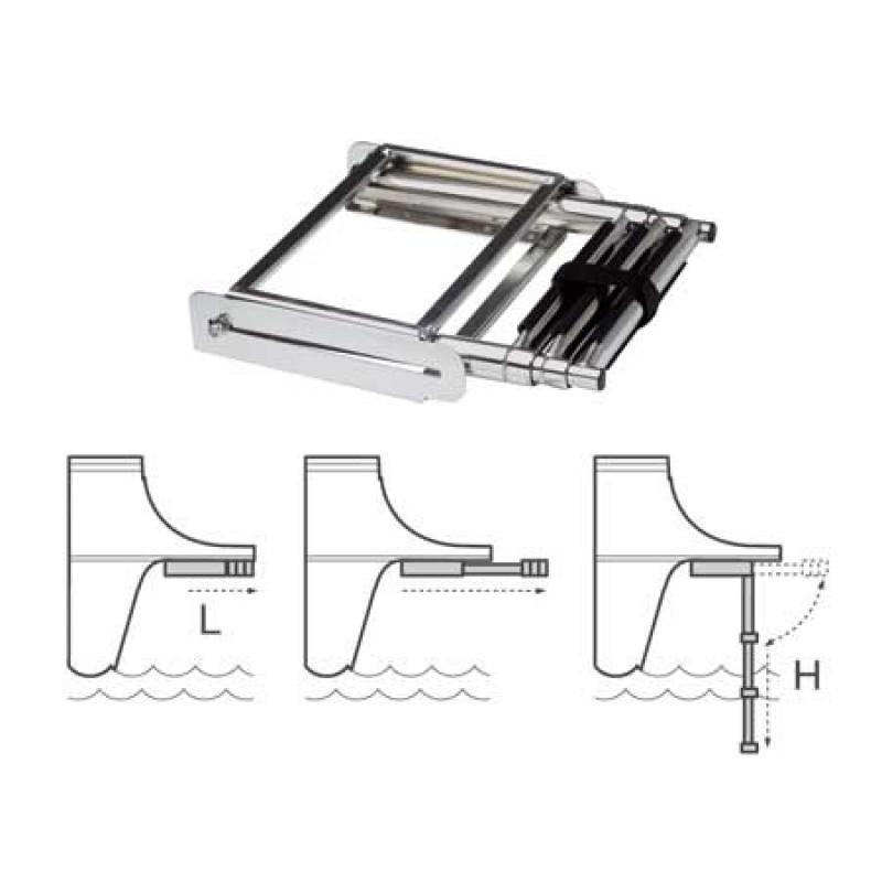 Escalera retráctil de acero inoxidable 4 pasos 31cm x H115cm