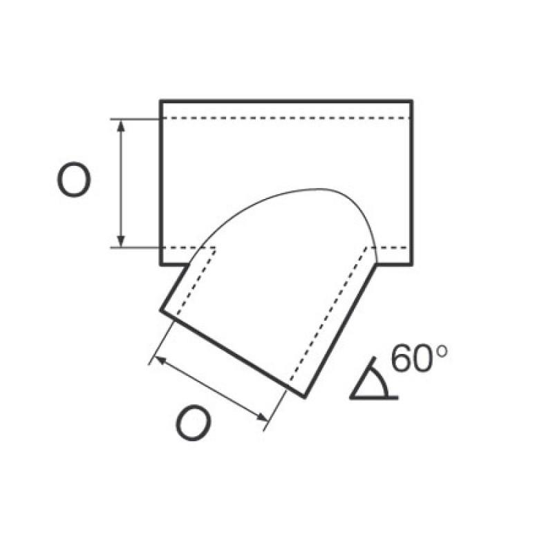 Union Tee Chapa Inox Inclinada 60° IZDA Tubo 25mm