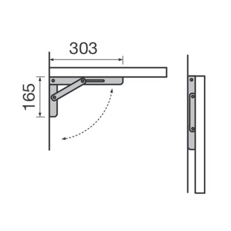 Soporte Rako Inox Plegable Mesas 300mm 40kg