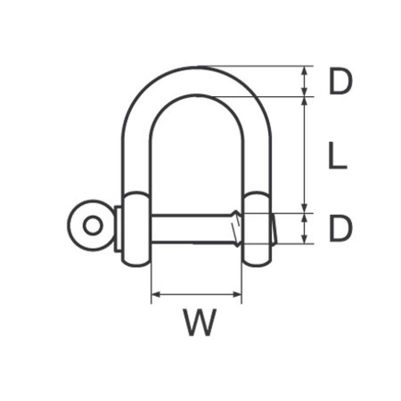 Grillete Recto Inox con Pasador cautivo D10