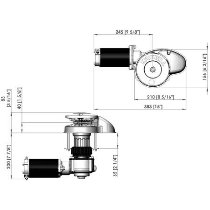Molinete de Anclas Maxwell RC8 600D 12v - Drum - 6-7mm Chain