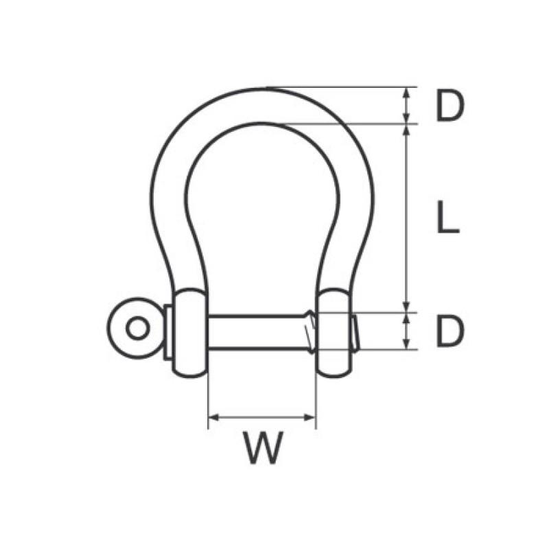 Grillete Lira o Campana Inox 12mm