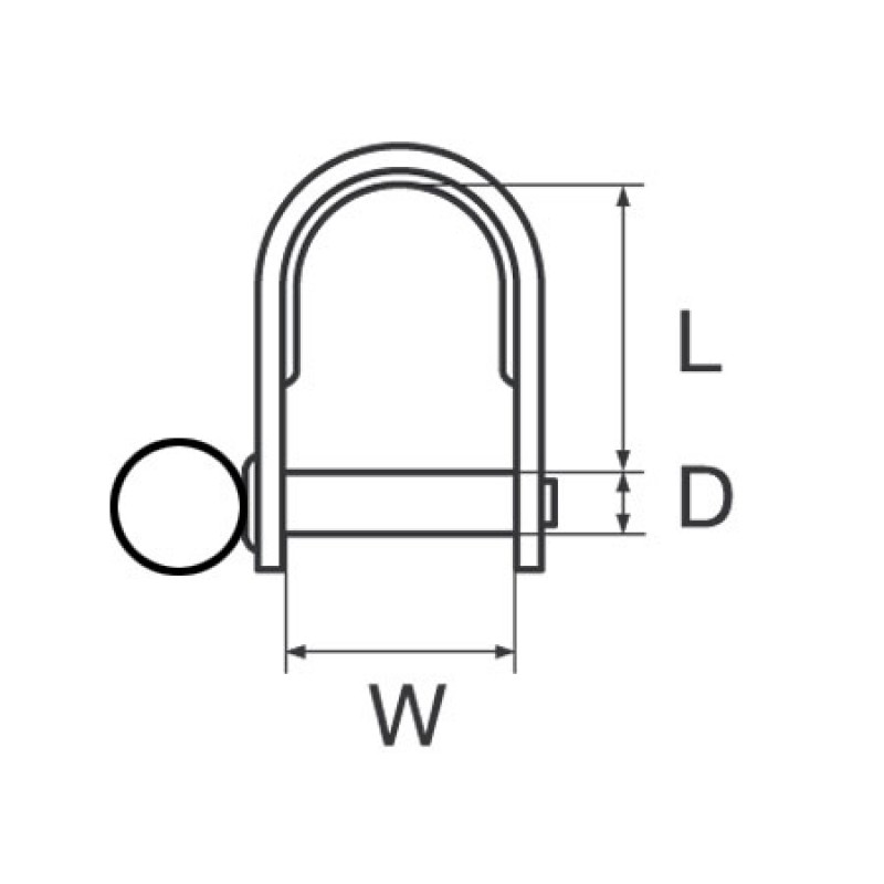 Stainless Steel stamped Dee Shackle with ring 4 x 24mm