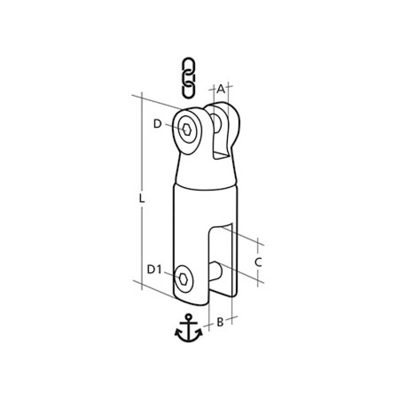 Anchor-chain Stainless Steel swivel connector 6/8mm