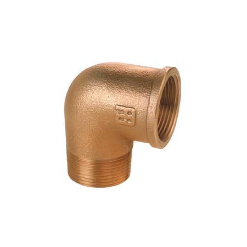 Codo de bronce M/H de 1 pulgada