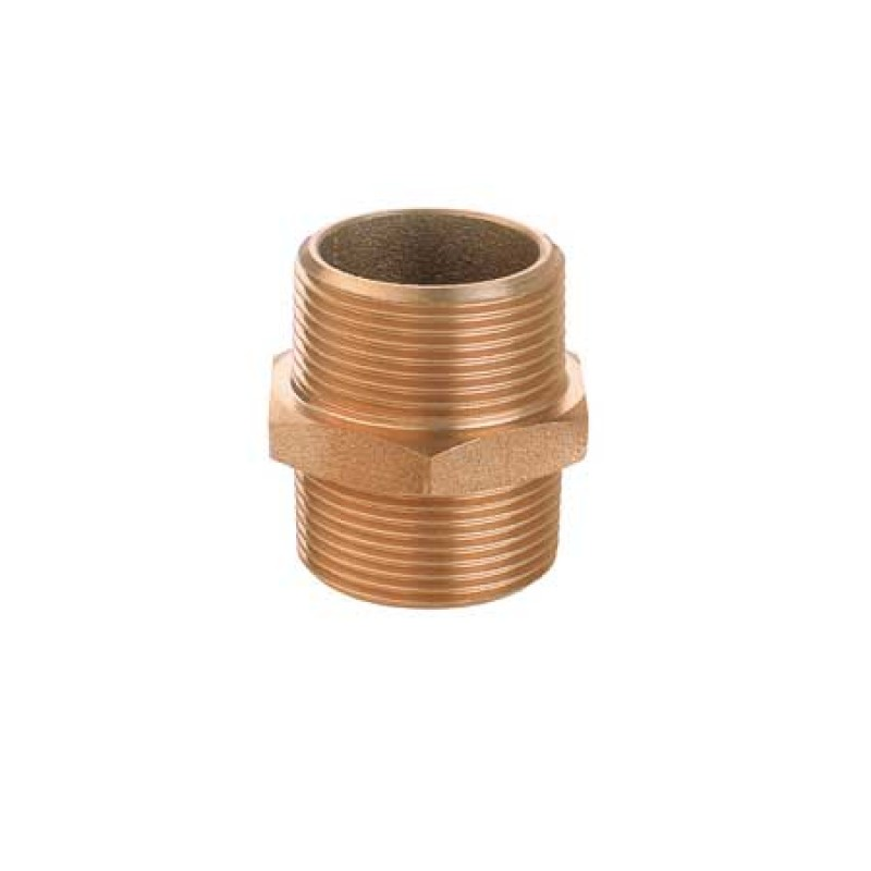 Racor de Bronce con Doble Rosca Macho 3/4""