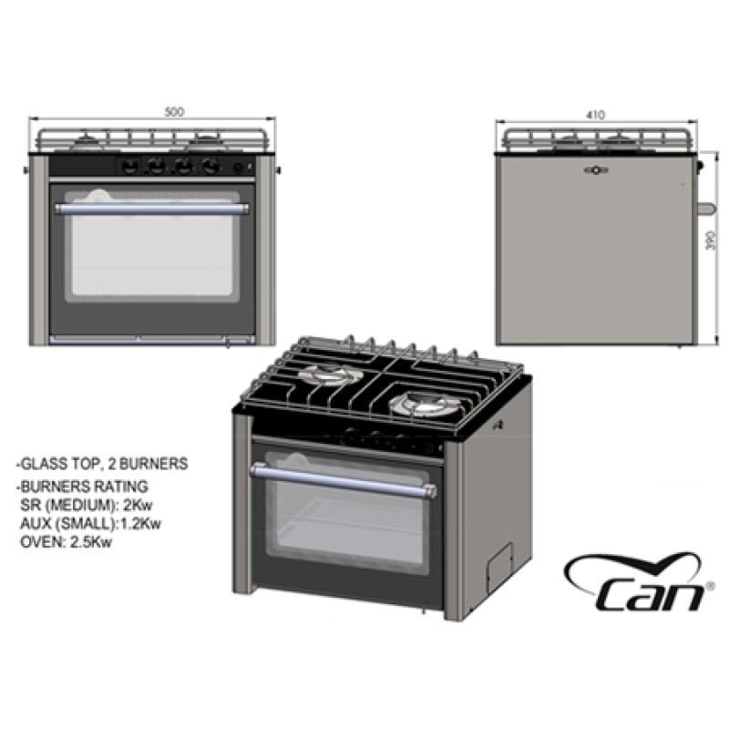 Cocina de gas de acero inoxidable CAN 2 quemadores y Horno