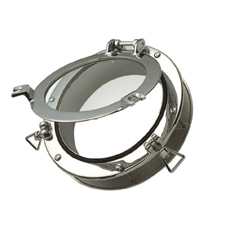 Chrome Brass Porthole with Counter Frame and Crystal 264 x 195 x 25mm