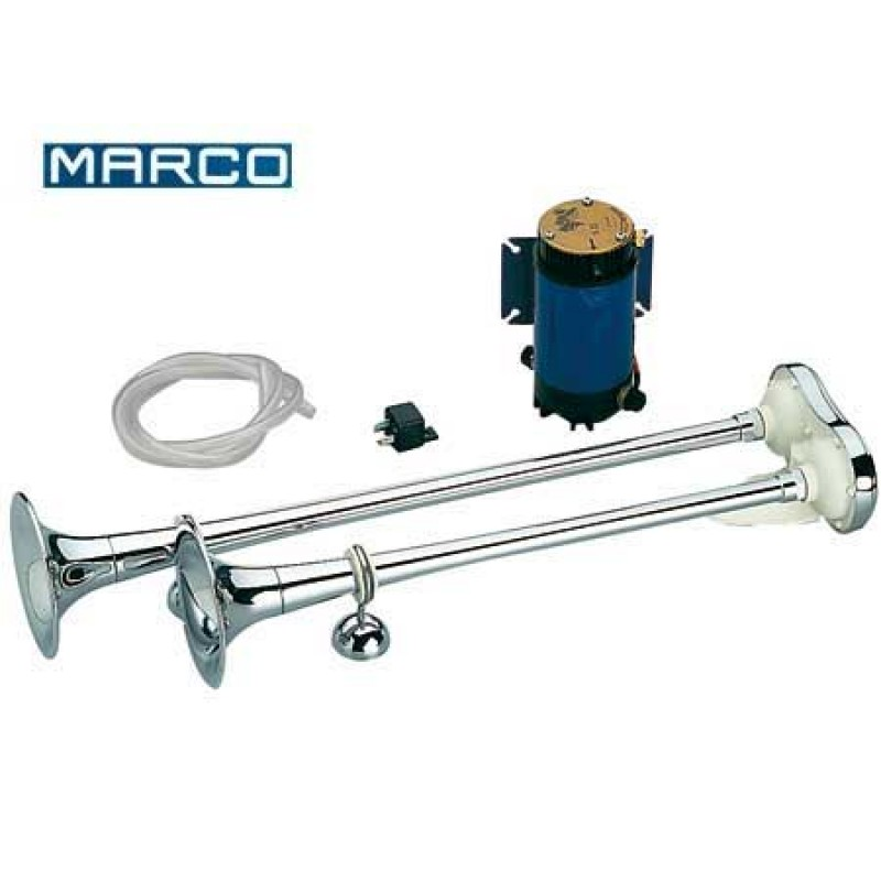 MARCO Double L390 12V Electric Horn in Chrome Brass