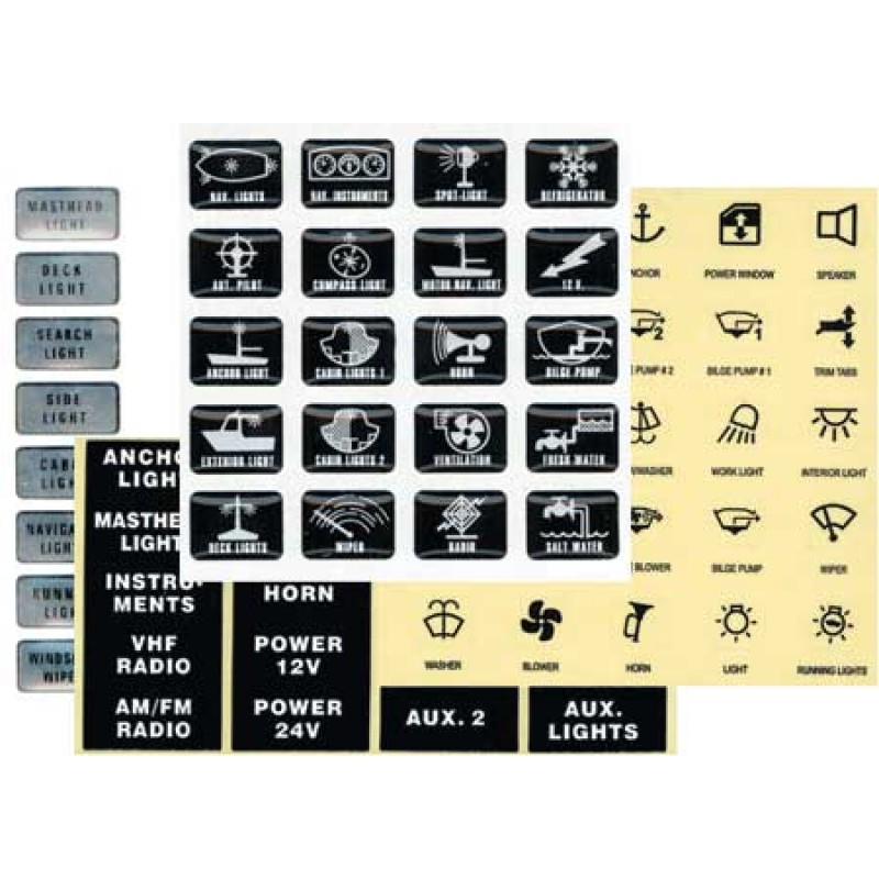 25 Black Adhesive Sticker Labels 14 x 12mm for marine Switches