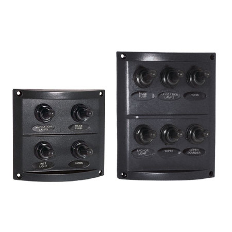 ABS Panel with 6 waterproof switches 10amp 100 x H125mm