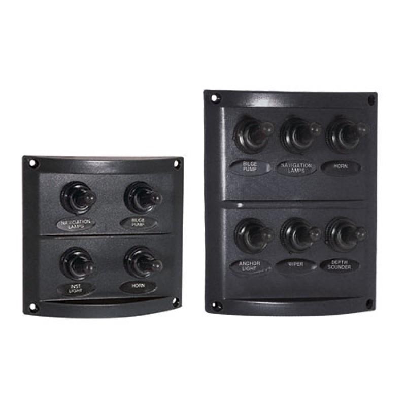 Panel de interruptores ABS negro con 6 x 10 amp Interruptores a prueba de agua 100 x H 100 mm