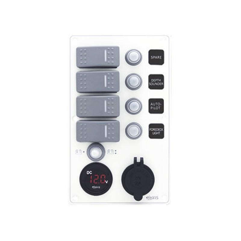 Aluminum IP66 waterproof 12/24V superior quality compact panel 4 Switches + 12v Socket + Usb Socket 114 x H191mm