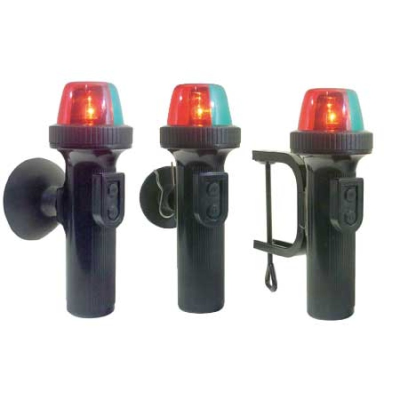Battery powered LED navigation lights with suction cup red/green