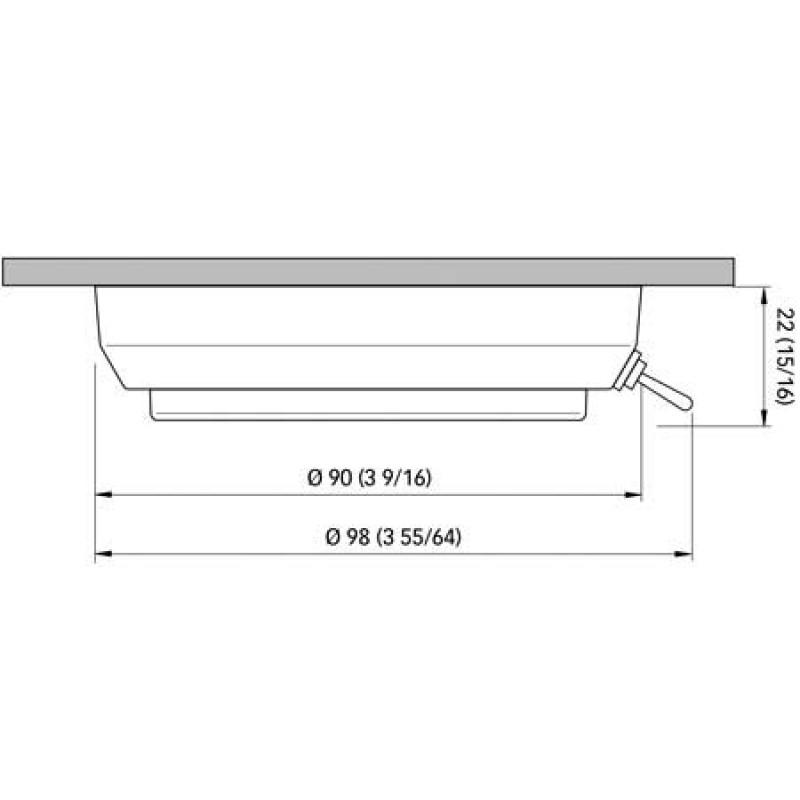 Luz de techo LED de alta luminosidad de acero inoxidable Tim con interruptor 90 mm