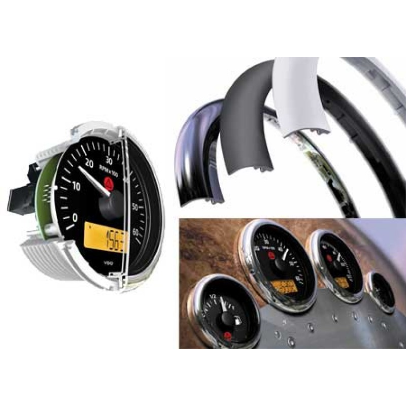 Indicador de presión de aceite VDO negro 30bar 52mm