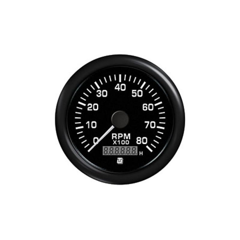 Black Uflex Tachometer/Hourmeter 4000rpm 62049