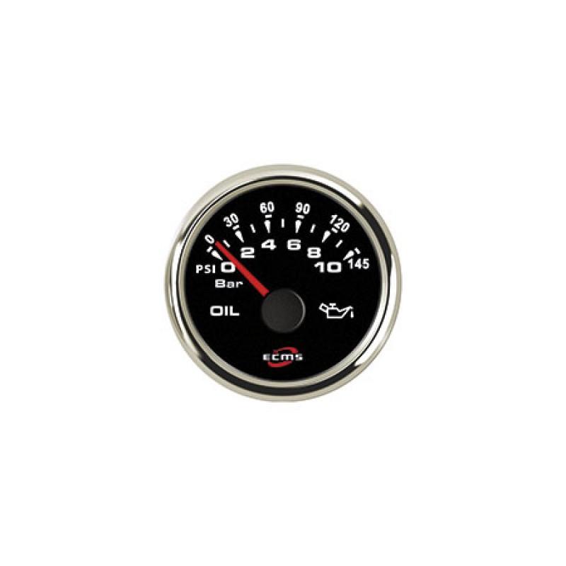 Calibrador de presión del aceite 10bar negro