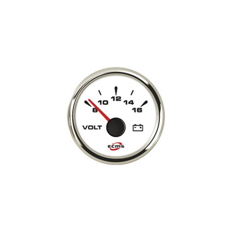 Voltímetro Uflex 12v blanco 52mm 8-32v