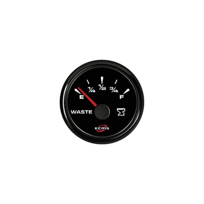 Ecms 12/24V All Black gauges Rudder Angle Gauge 52mm