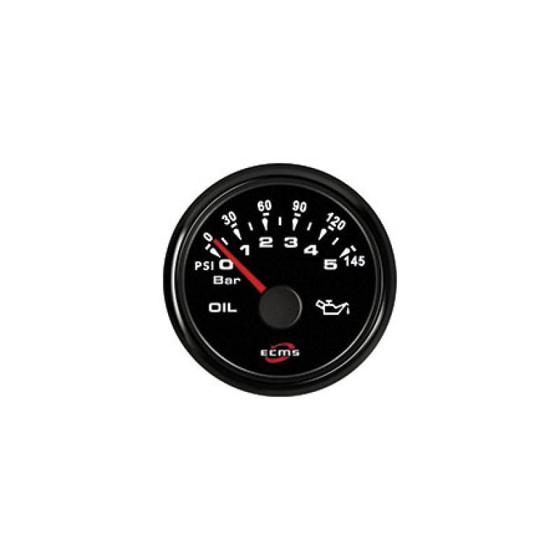 Reloj Negro Ecms Indicador Angulo Timon 52mm