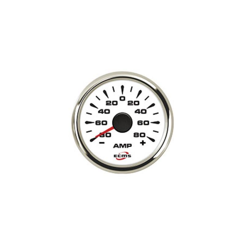 Amperímetro con Shunt Blanco y Cromado -150+150A 52mm