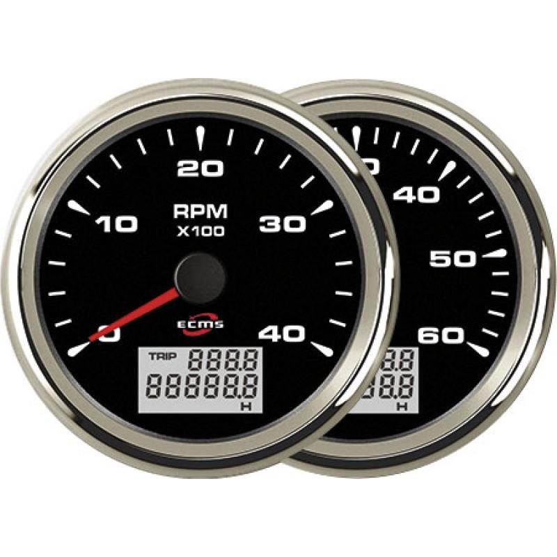 Tacómetro Negro cromado con Cuenta Horas ECMS 6000RPM 85mm