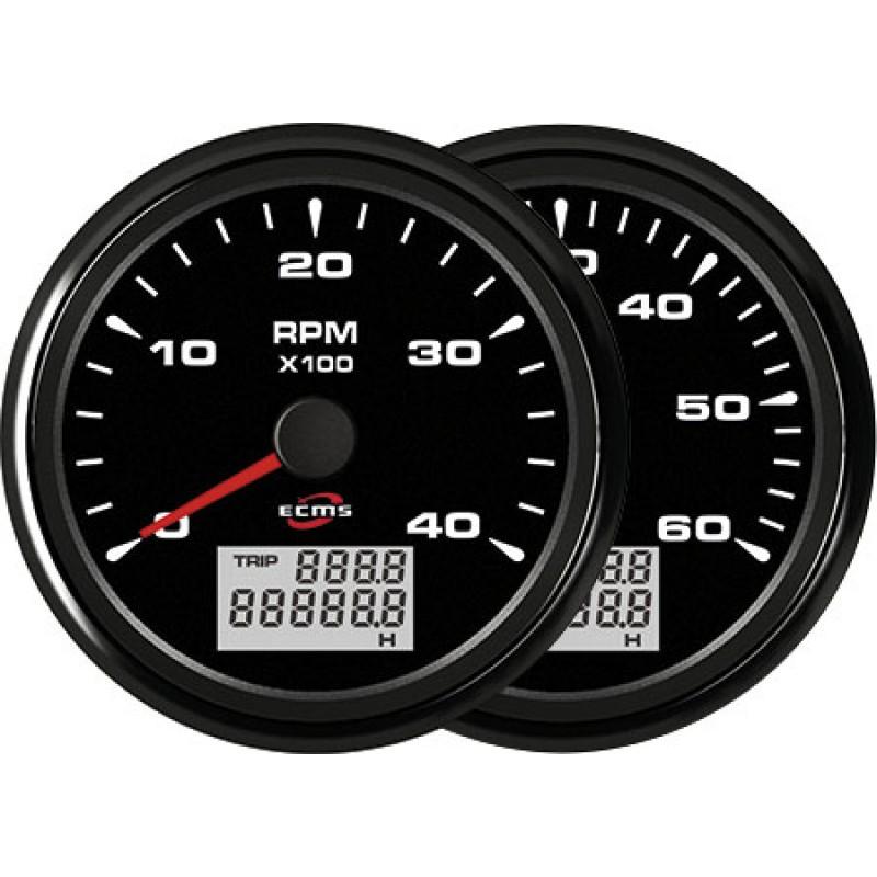 Ecms All Black 12/24V Tach/Hourmeter 4000 85mm