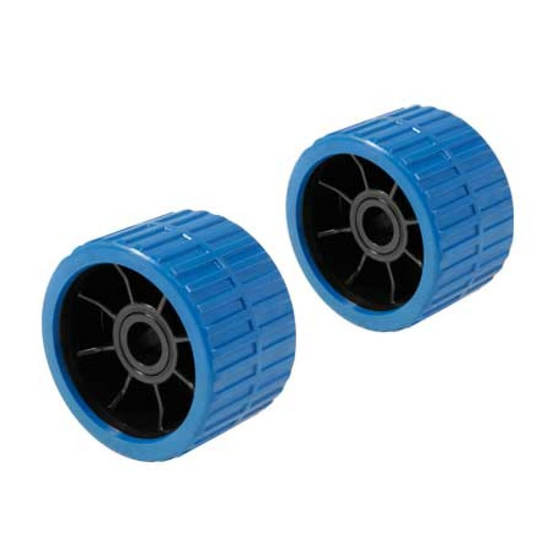 Blue Polyurethane coated Nylon Trailer side rollers D120 F21