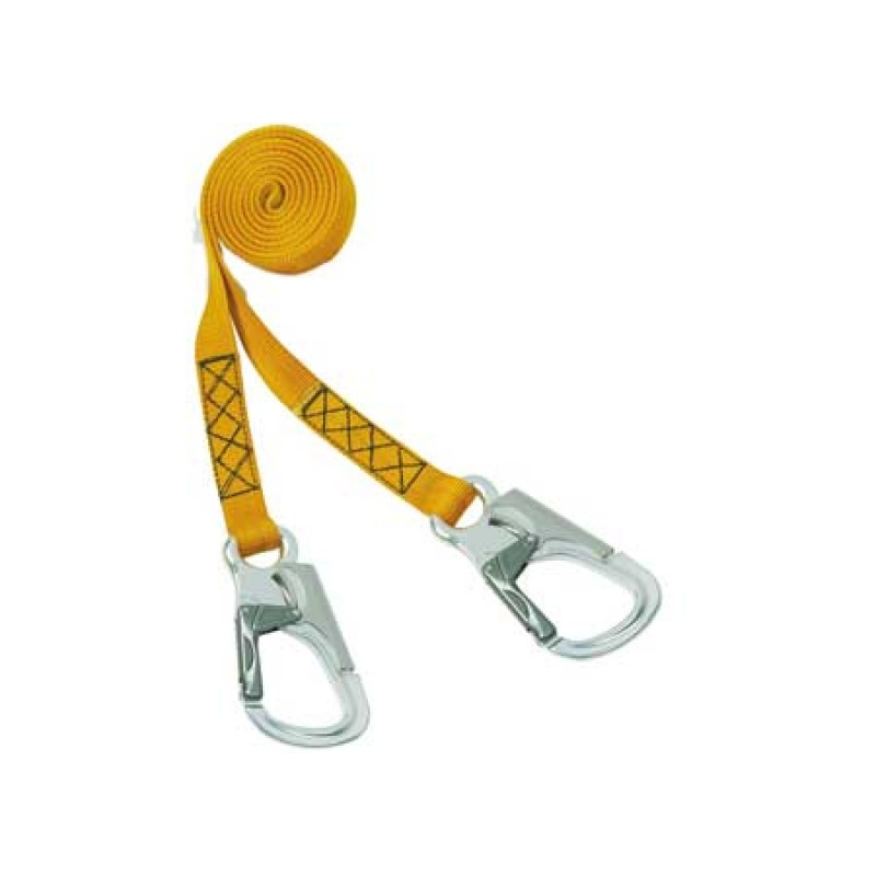 Polyester safety line for harnesses with 3 Aluminum self-locking snap-hooks W140/200 Alu