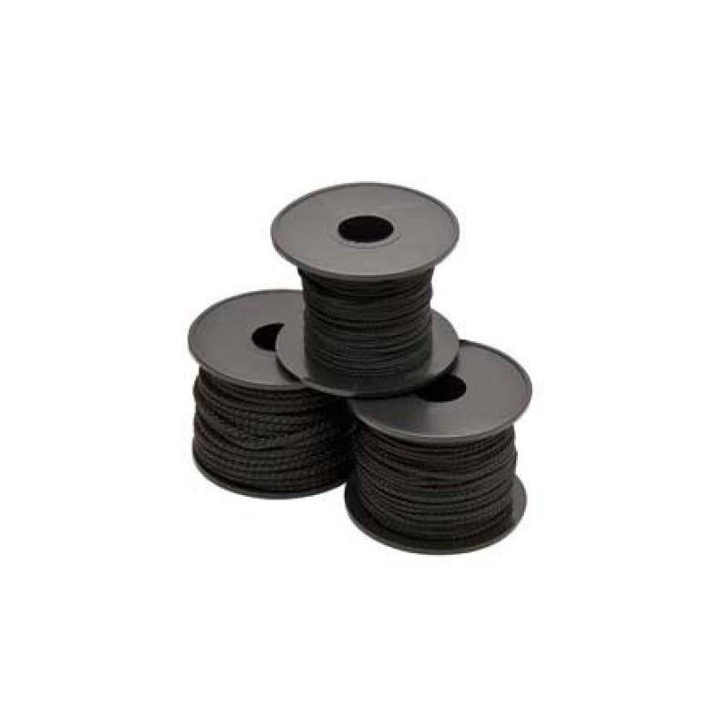 black polyester braid mini-spools 3mm 15m