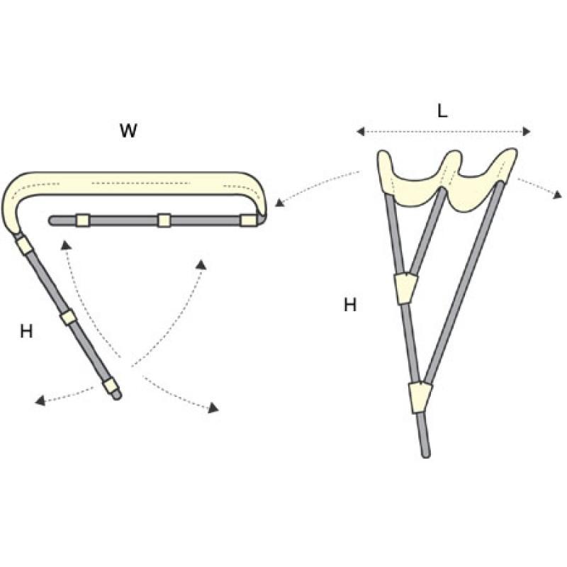White nautical bimini F3 Aluminum 3 arches 185cm Width x 180cm Length x 110cm Height