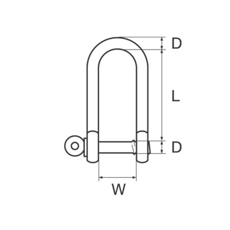 316 Stainless Steel shackle Wichard long Dee C-pin D6