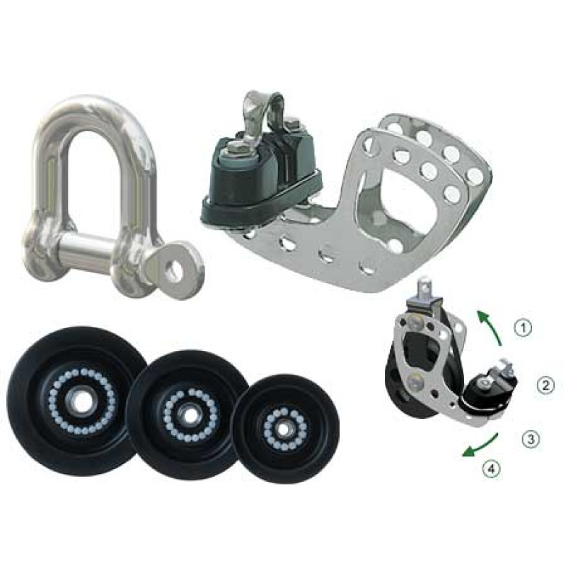 50mm Triple Antal Pulley with 10mm cage and jaw