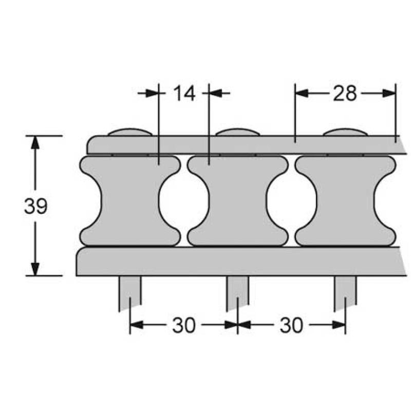 Organizador de Cubierta Antal v-cam 814 6 ruedas driza 14mm