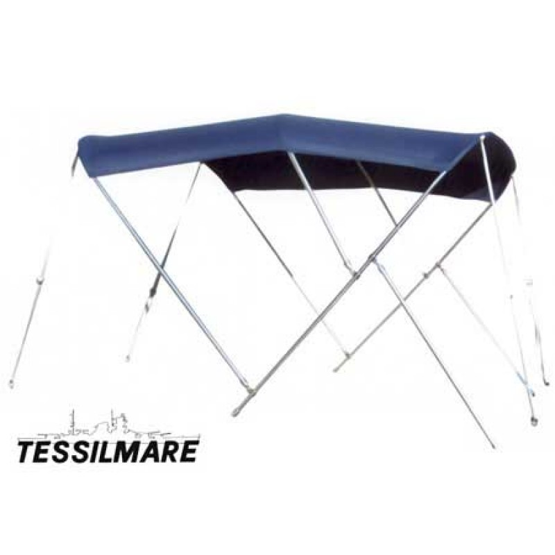 Blue Bimini top Tessilmare 3 Stainless Steel Arches 250 x 180 H140cm