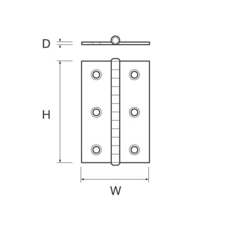 Stainless Hinge Std H60mm