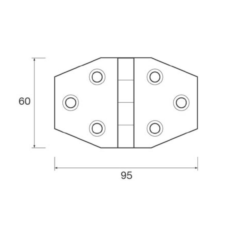 Bisagra negra de plastico Mm: 60 X 95