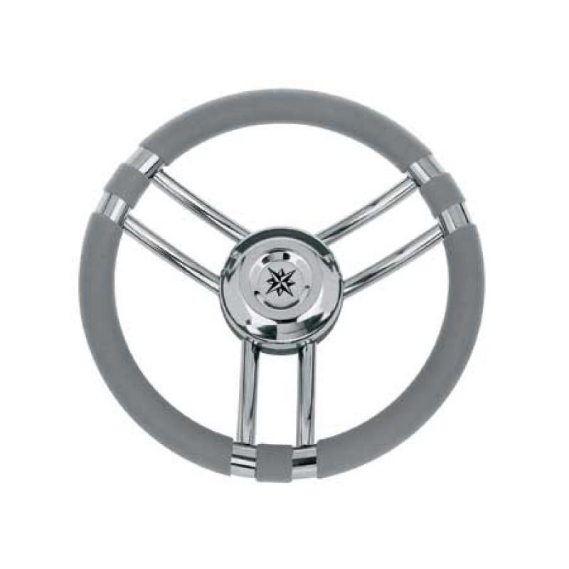 Volante Inox Ray 3 Radios Forro Poliuretano Gris 350mm