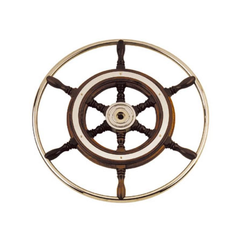 chromed brass hub mahogany helmsmann`s wheel with stainless steel grip 500mm
