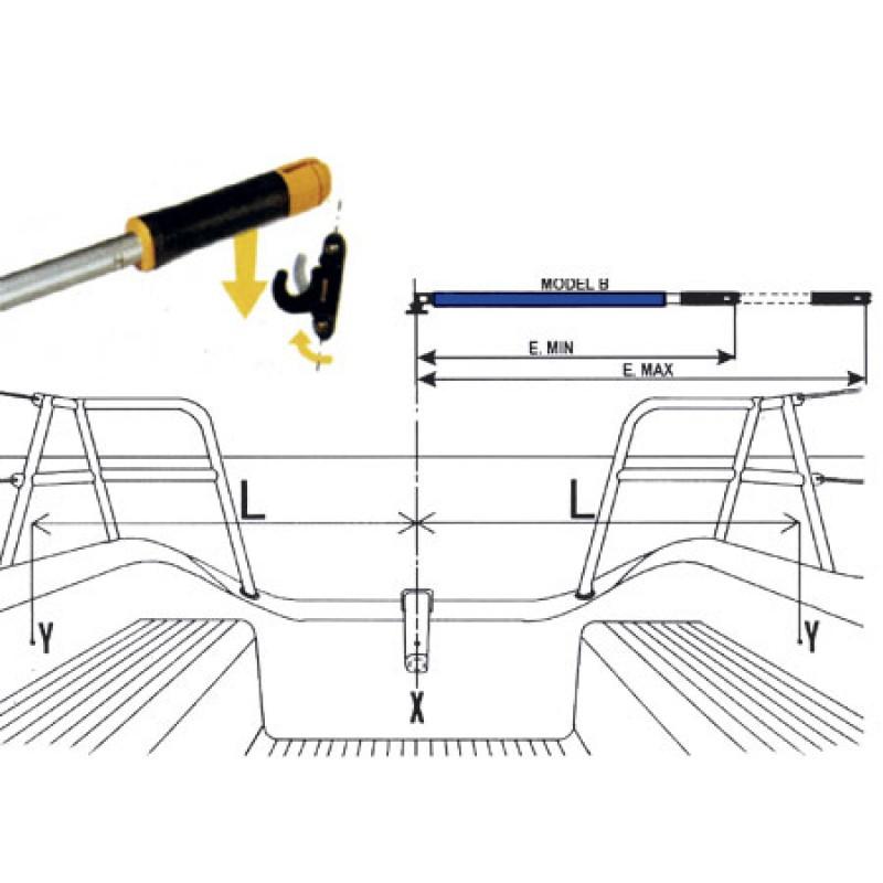 Extension de caña azul clásico 632-935mm